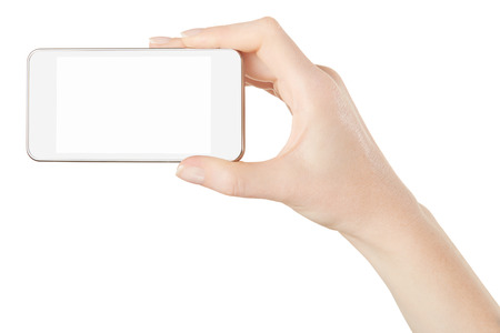 taking video: Smartphone in woman hand taking photo or video on white, clipping path Stock Photo