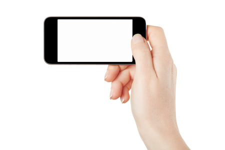 Smartphone in female hand taking photo on white, clipping path