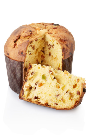 Panettone and slice isolated, clipping path included 스톡 콘텐츠