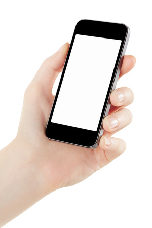 Woman hand holding smartphone isolated on white, clipping path included photo