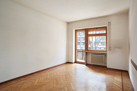 Empty room with wooden floor photo
