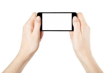 Hands holding smartphone device gaming isolated on white, clipping path