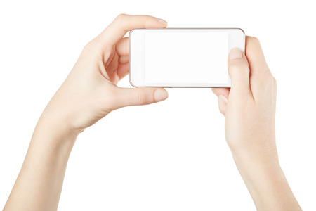 taking: Smartphone in female hands taking photo isolated on white, clipping path