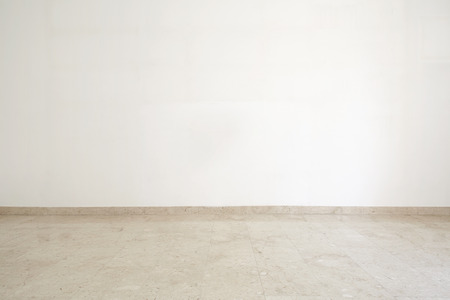 white marble: Empty room with marble floor and white wall
