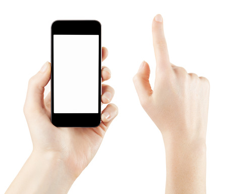 Woman hand holding and touching smartphone screen isolated Standard-Bild