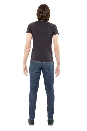 hombre flaco: El hombre vestido de negro de la camiseta en blanco, camino de recortes Foto de archivo