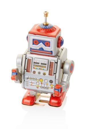 Robot vintage toy on white photo
