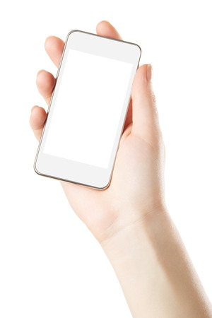 Smartphone in hand with blank screen on white photo