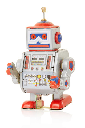Robot vintage toy on white, clipping path photo
