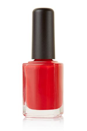 flacon vernis � ongle: Ongle rouge bouteille de vernis isol� sur blanc, chemin de d�tourage