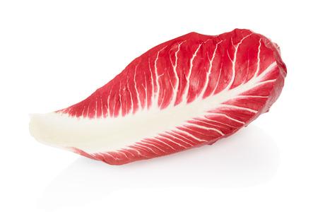 Radicchio single leaf, red salad on white, clipping path photo