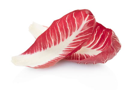 Radicchio leaves, red salad on white, clipping path photo