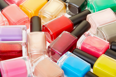 nail varnish: Nail polish colorful bottles background