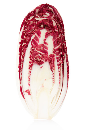 Radicchio section, red salad on white, clipping path photo