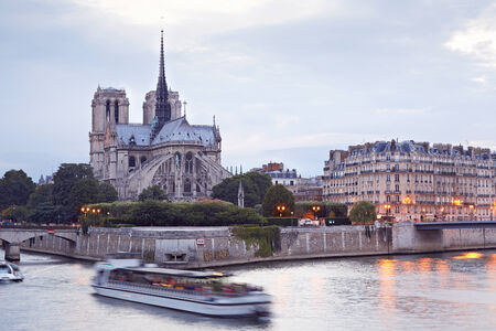 Notre Dame, Paris cathedral in France with river photo