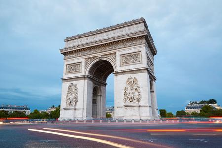 triumphal: Triumphal Arch in Paris in the evening, France