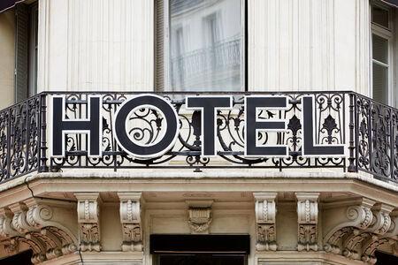hotel balcony: Hotel sign on balcony in Europe