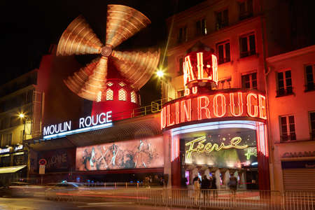 rouge: Moulin Rouge by night in Paris, France