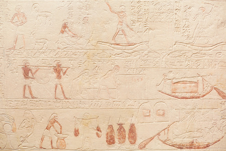 ancient egyptian civilization: Egyptian hieroglyphics stone background Stock Photo