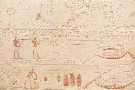 Egyptian hieroglyphics stone background Stockfoto