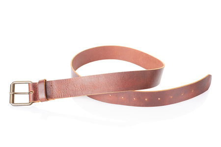 Brown leather men belt on white, clipping path photo