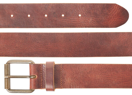 Brown leather belt set on white, clipping path photo