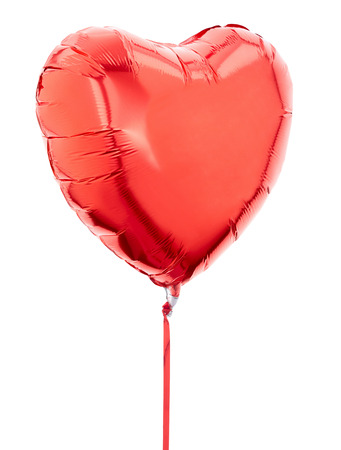 Red heart balloon on white, clipping path Imagens - 32621618