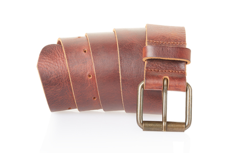 Leather belt on white, clipping path photo