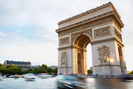 triumphal: Arc de Triomphe in Paris in the morning, France