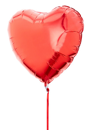 shape heart: Red heart balloon on white, clipping path
