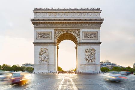 Arc de Triomphe in Parijs in de ochtend, Frankrijk