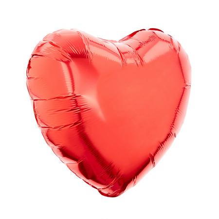 Red heart balloon on white