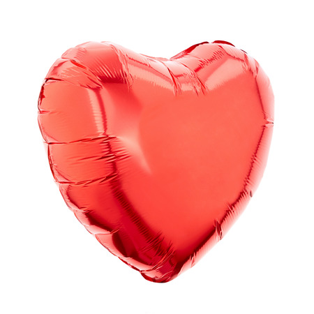 Red heart balloon on white