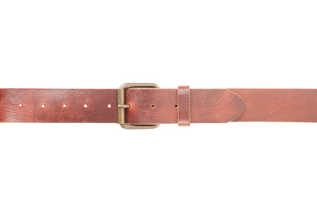 Brown leather belt with buckle on white photo