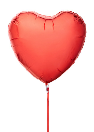 Red heart balloon isolated on white,