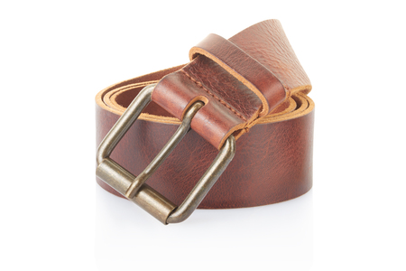 Leather belt isolated on white, clipping path included photo