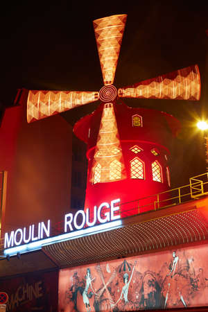 rouge: Moulin Rouge by night in Paris