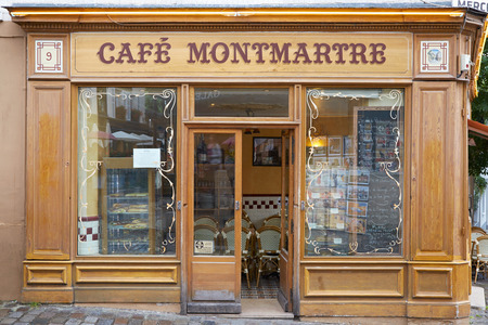 shop window display: Typical Cafe in Montmartre, Paris near Sacre Coeur, France