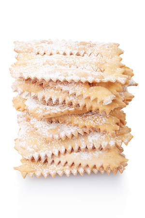 chiacchiere: Chiacchiere, italian Carnival pastry stack on white, clipping path