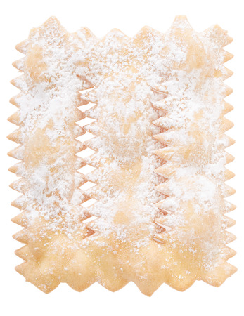 crostoli: Chiacchiere, italian Carnival pastry on white.