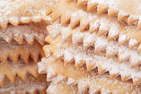 chiacchiere: Chiacchiere, italian Carnival pastry heap close up
