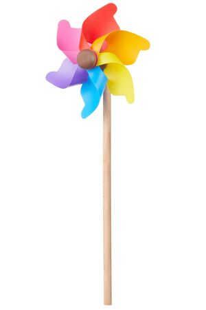 clipping path: Pinwheel, colorful toy on white, clipping path Stock Photo