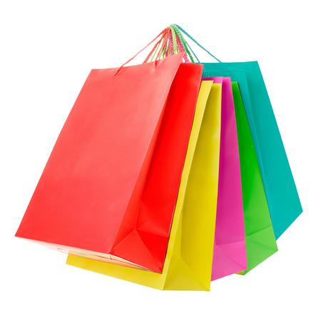 白、クリッピングパスにカラフルな紙のショッピング バッグ 写真素材