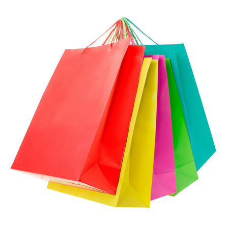 Colorful paper shopping bags on white, clipping path Stockfoto