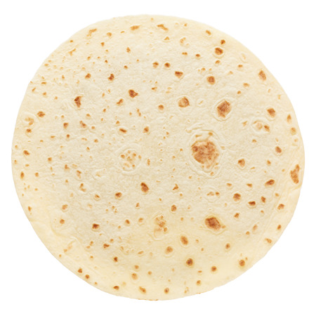 Piadina, round italian tortilla on white Stockfoto