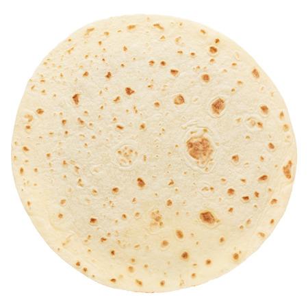Piadina, round italian tortilla on white Standard-Bild