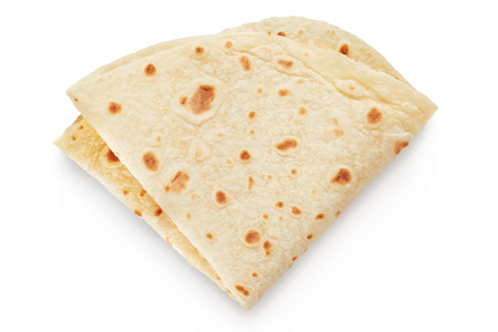 unleavened: Piadina, italian unleavened bread on white