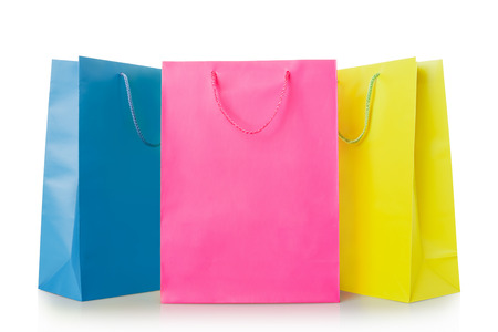 Colorful shopping bags in paper on white, clipping path