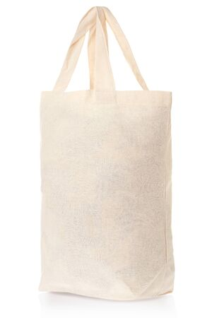 fabric bag: Fabric natural canvas bag on white