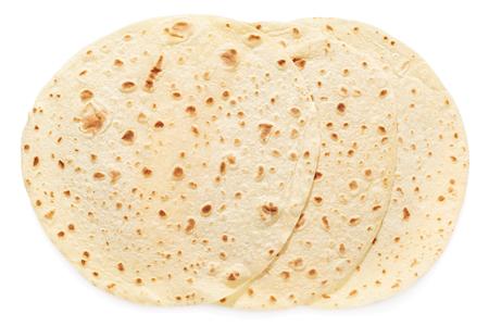 Piadina, italiaans tortilla groep geïsoleerd op wit, het knippen weg